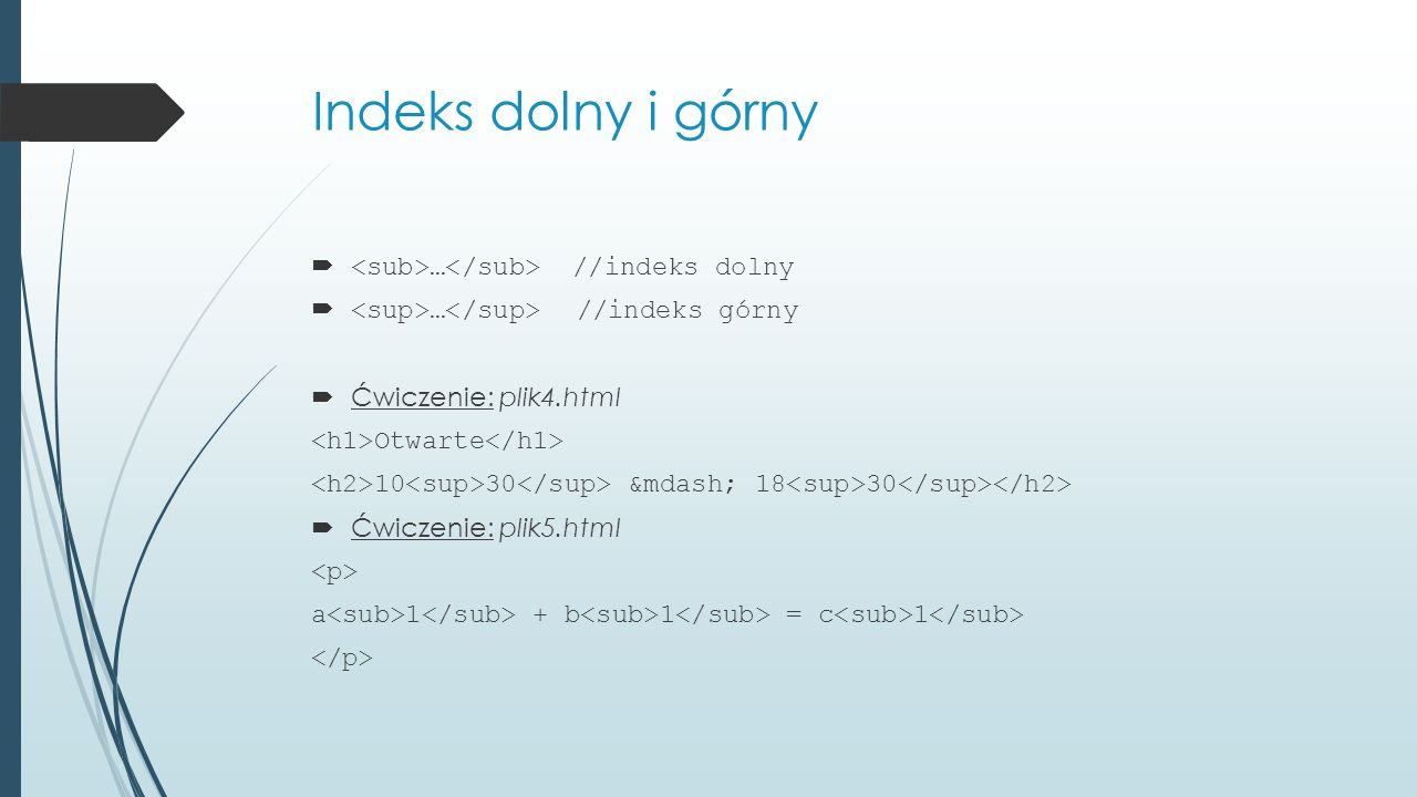 Indeks dolny i górny <sub>…</sub> //indeks dolny