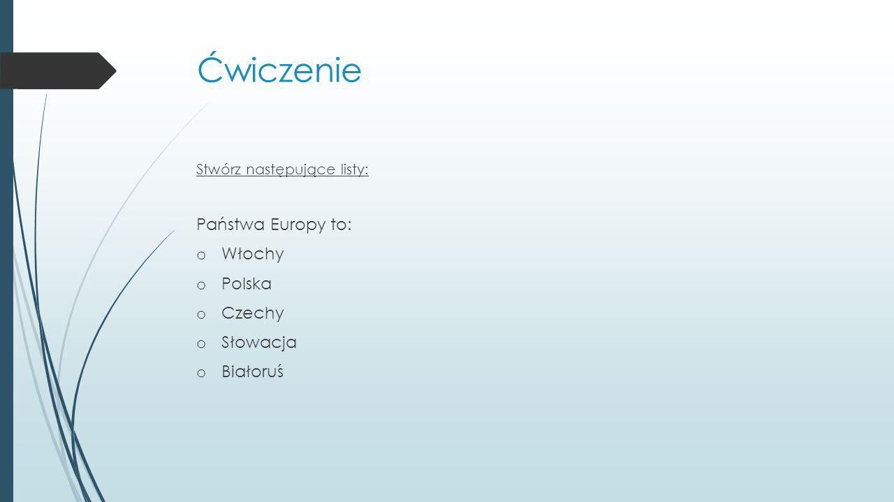 Ćwiczenie Państwa Europy to: Włochy Polska Czechy Słowacja Białoruś