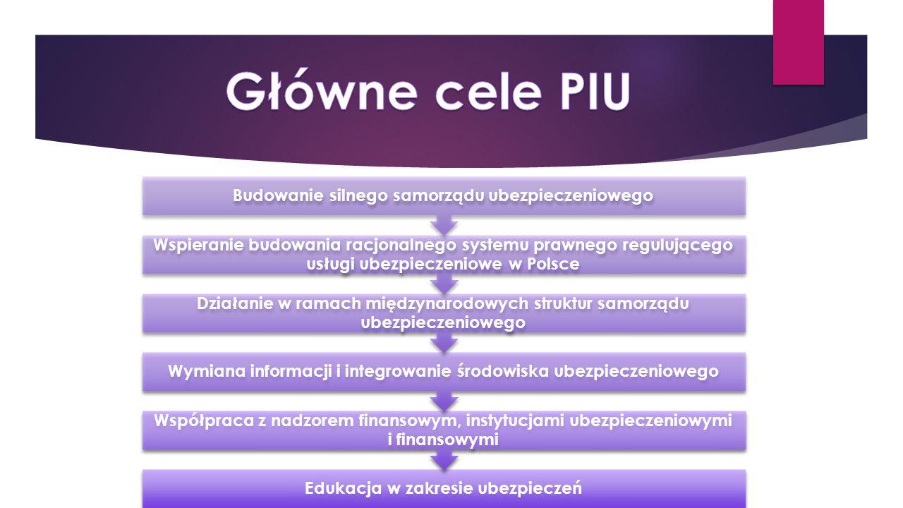Główne cele PIU Budowanie silnego samorządu ubezpieczeniowego.