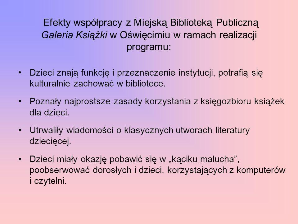 Efekty współpracy z Miejską Biblioteką Publiczną Galeria Książki w Oświęcimiu w ramach realizacji programu: