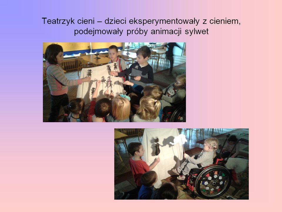 Teatrzyk cieni – dzieci eksperymentowały z cieniem, podejmowały próby animacji sylwet