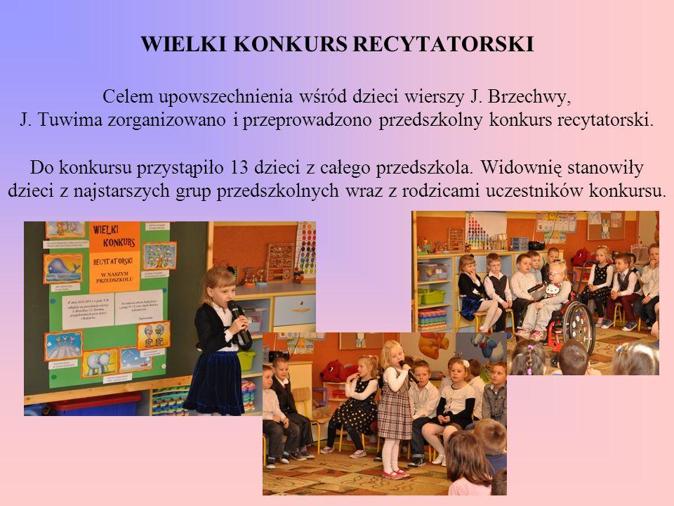 WIELKI KONKURS RECYTATORSKI Celem upowszechnienia wśród dzieci wierszy J.
