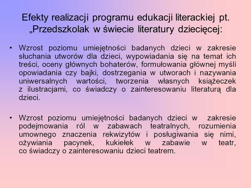 Efekty realizacji programu edukacji literackiej pt