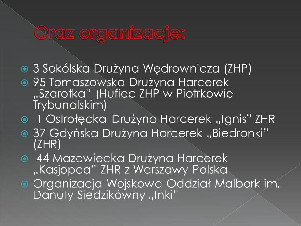 Oraz organizacje: 3 Sokólska Drużyna Wędrownicza (ZHP)
