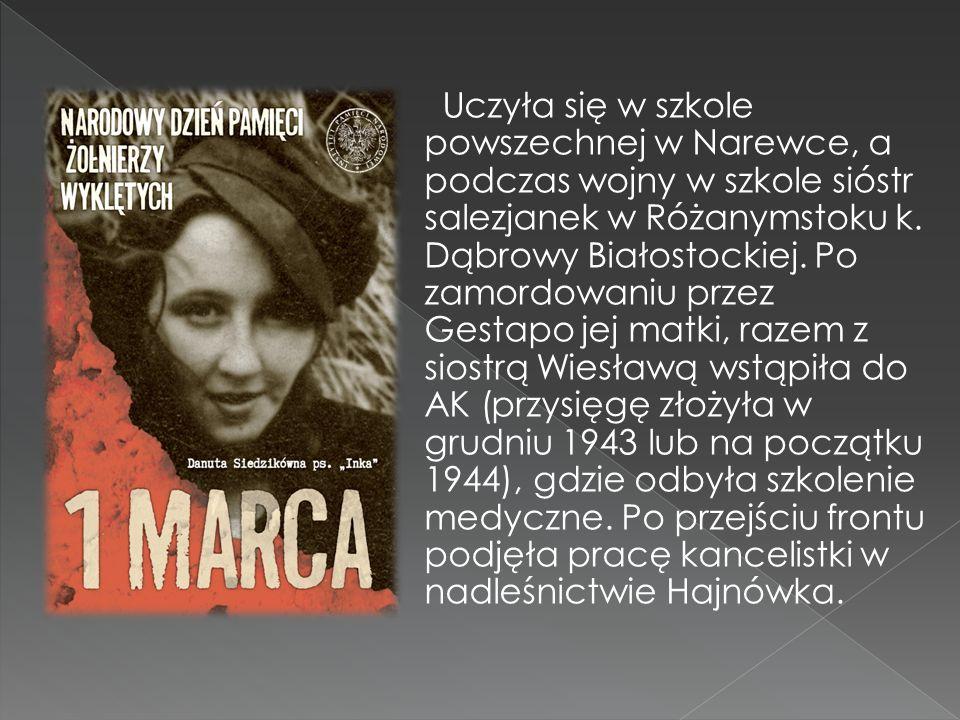 Uczyła się w szkole powszechnej w Narewce, a podczas wojny w szkole sióstr salezjanek w Różanymstoku k.