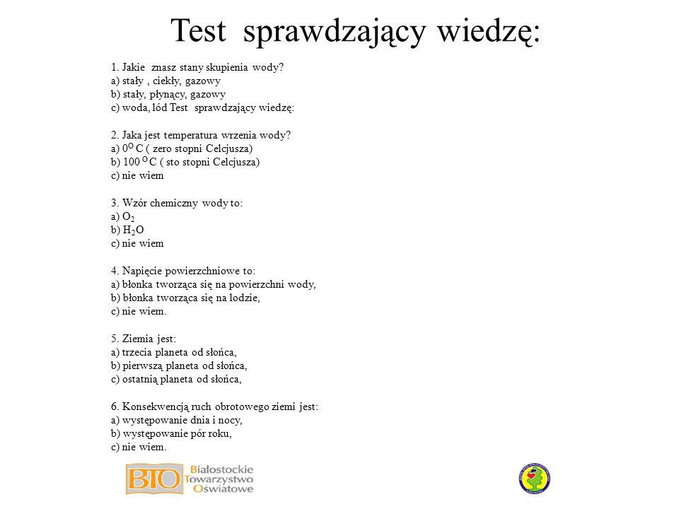 Test sprawdzający wiedzę:
