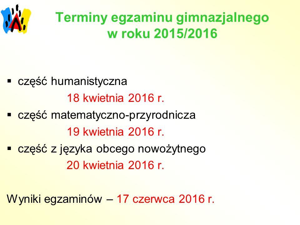 Terminy egzaminu gimnazjalnego w roku 2015/2016
