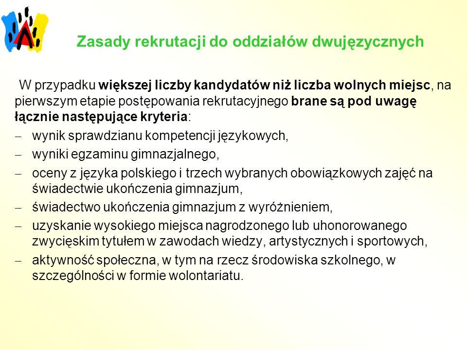 Zasady rekrutacji do oddziałów dwujęzycznych
