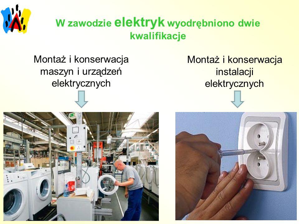 W zawodzie elektryk wyodrębniono dwie kwalifikacje