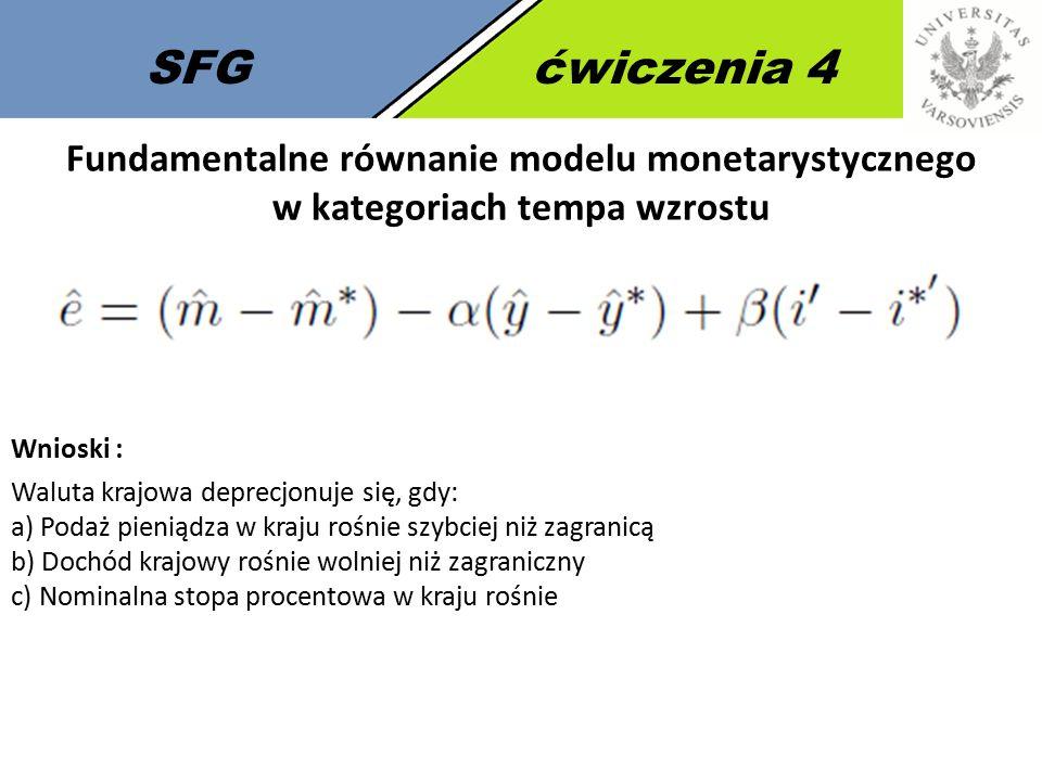 SFG ćwiczenia 4 Fundamentalne równanie modelu monetarystycznego