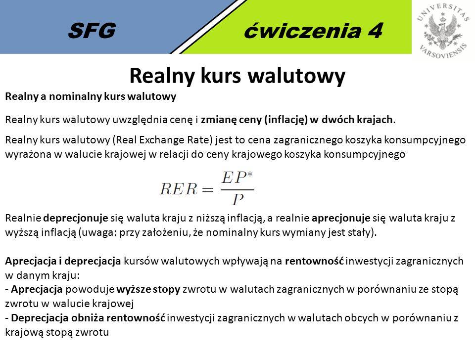 Realny kurs walutowy SFG ćwiczenia 4 Realny a nominalny kurs walutowy