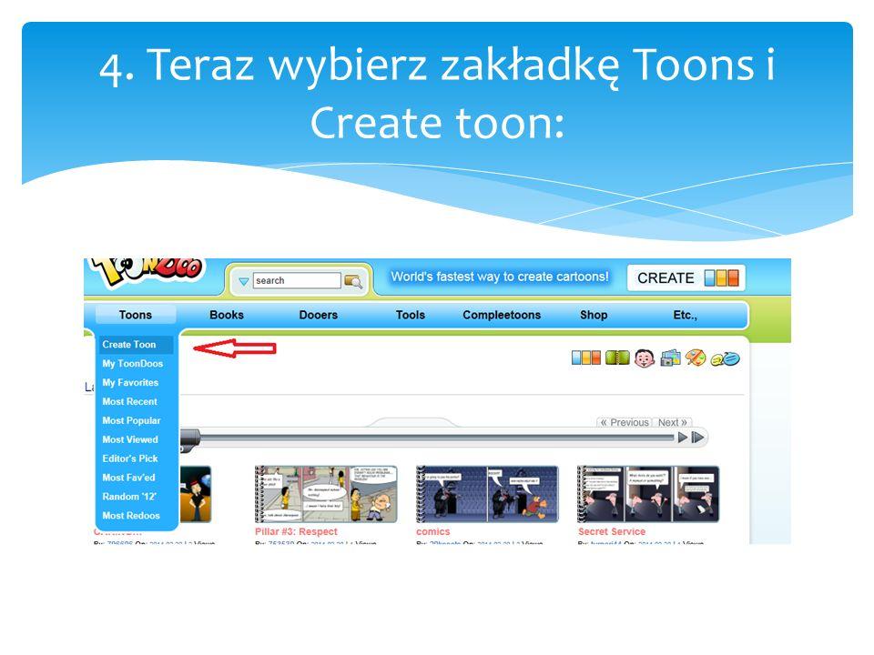 4. Teraz wybierz zakładkę Toons i Create toon: