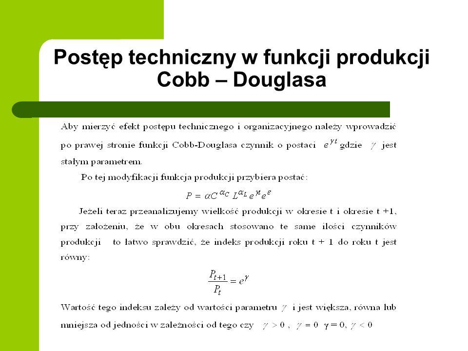 Postęp techniczny w funkcji produkcji Cobb – Douglasa