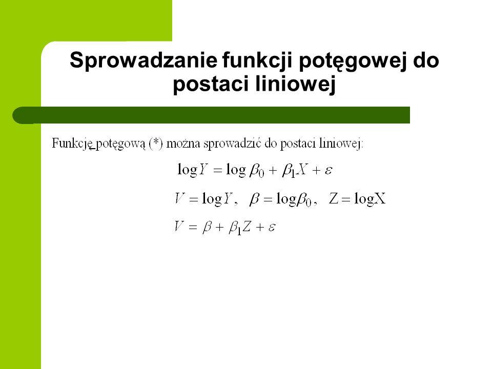 Sprowadzanie funkcji potęgowej do postaci liniowej