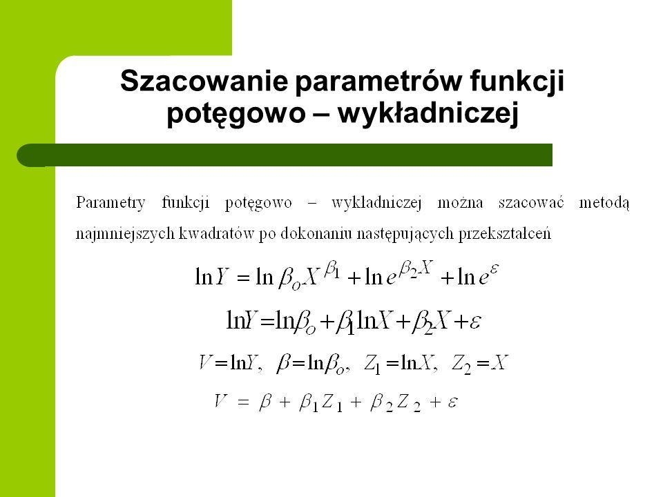 Szacowanie parametrów funkcji potęgowo – wykładniczej