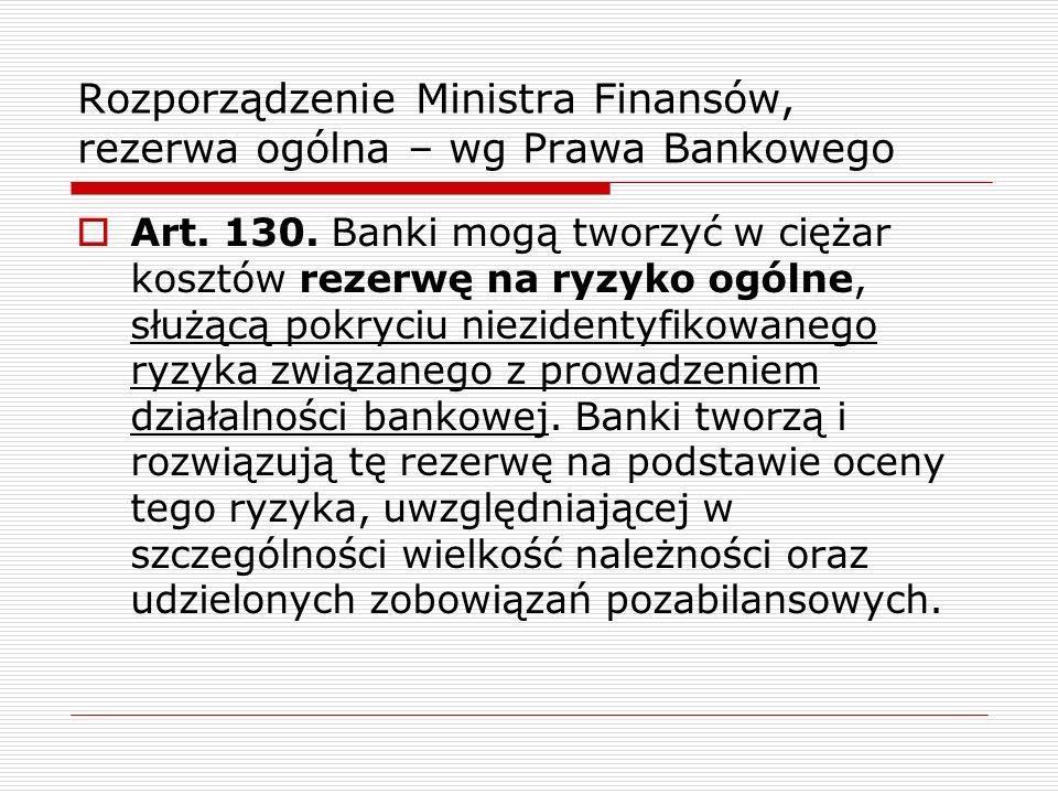 Rozporządzenie Ministra Finansów, rezerwa ogólna – wg Prawa Bankowego