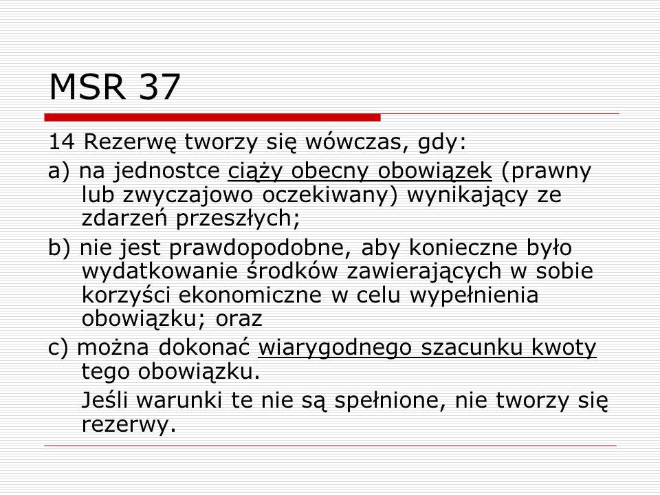 MSR 37 14 Rezerwę tworzy się wówczas, gdy: