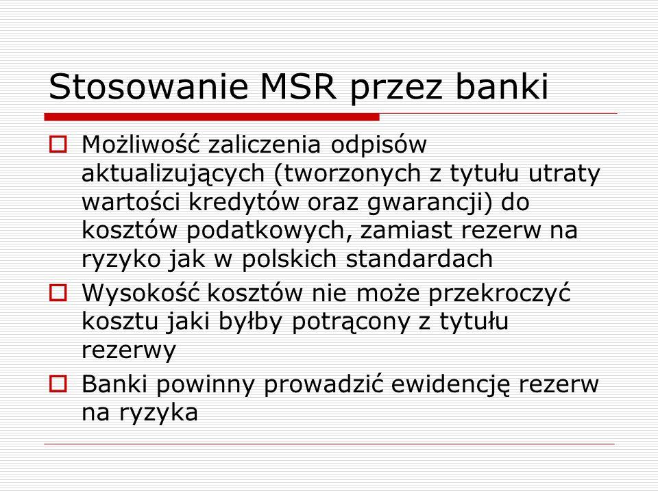 Stosowanie MSR przez banki