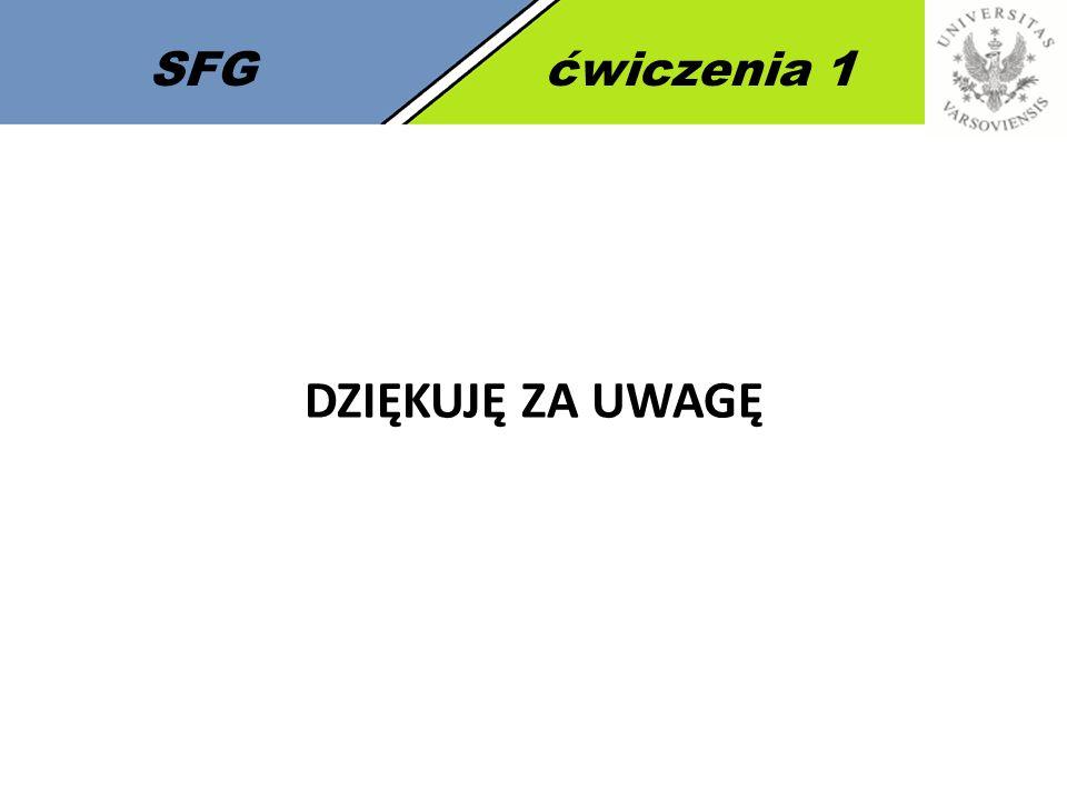 SFG ćwiczenia 1 DZIĘKUJĘ ZA UWAGĘ