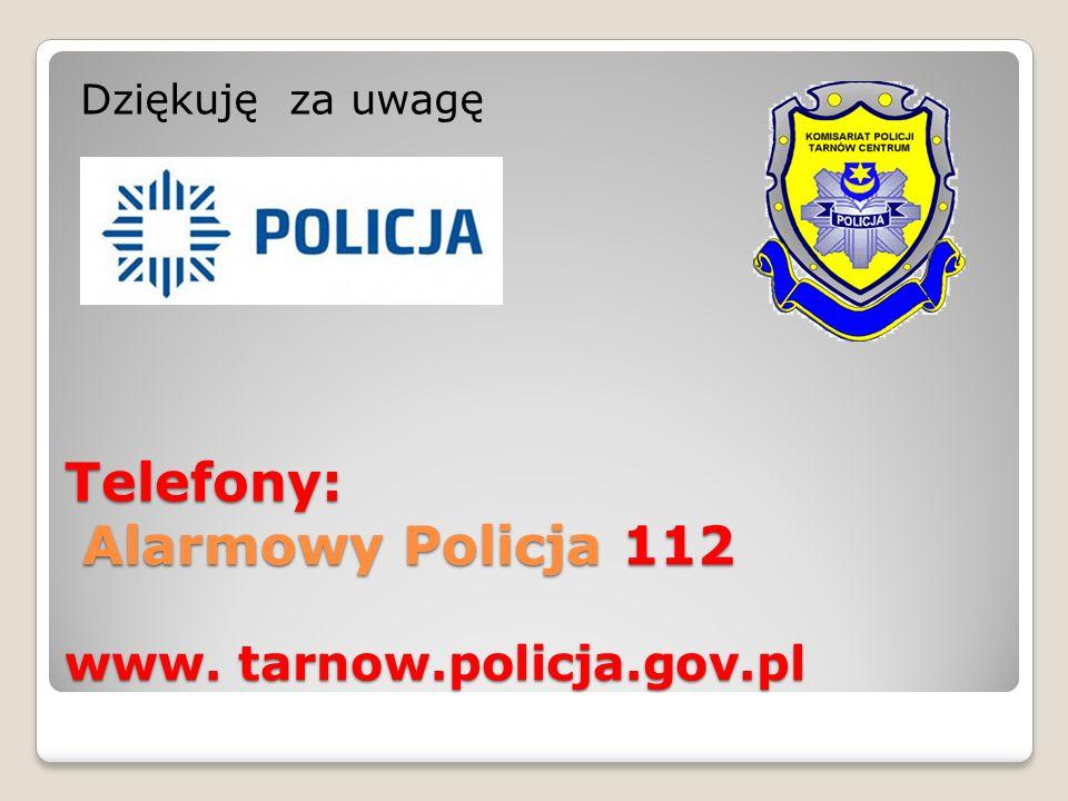 Telefony: Alarmowy Policja 112 www. tarnow.policja.gov.pl