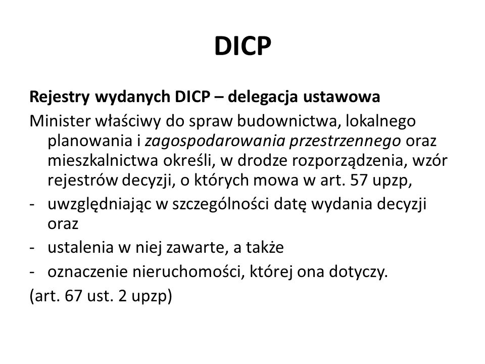 DICP Rejestry wydanych DICP – delegacja ustawowa