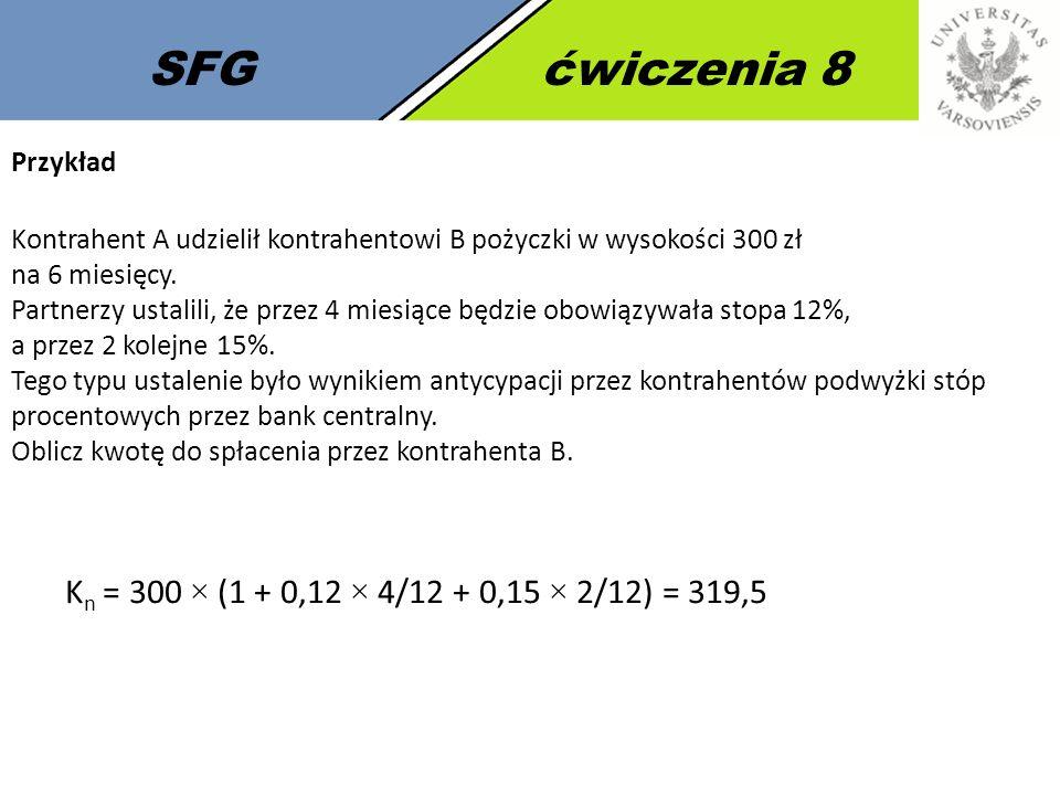 SFG ćwiczenia 8 Kn = 300 × (1 + 0,12 × 4/12 + 0,15 × 2/12) = 319,5