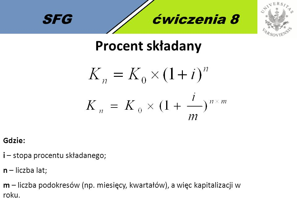 Procent składany SFG ćwiczenia 8 Gdzie: i – stopa procentu składanego;