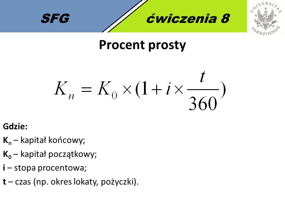 Procent prosty SFG ćwiczenia 8 Gdzie: Kn – kapitał końcowy;