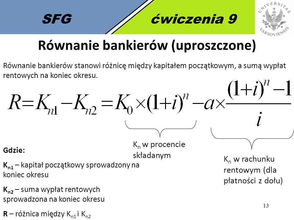 Równanie bankierów (uproszczone)