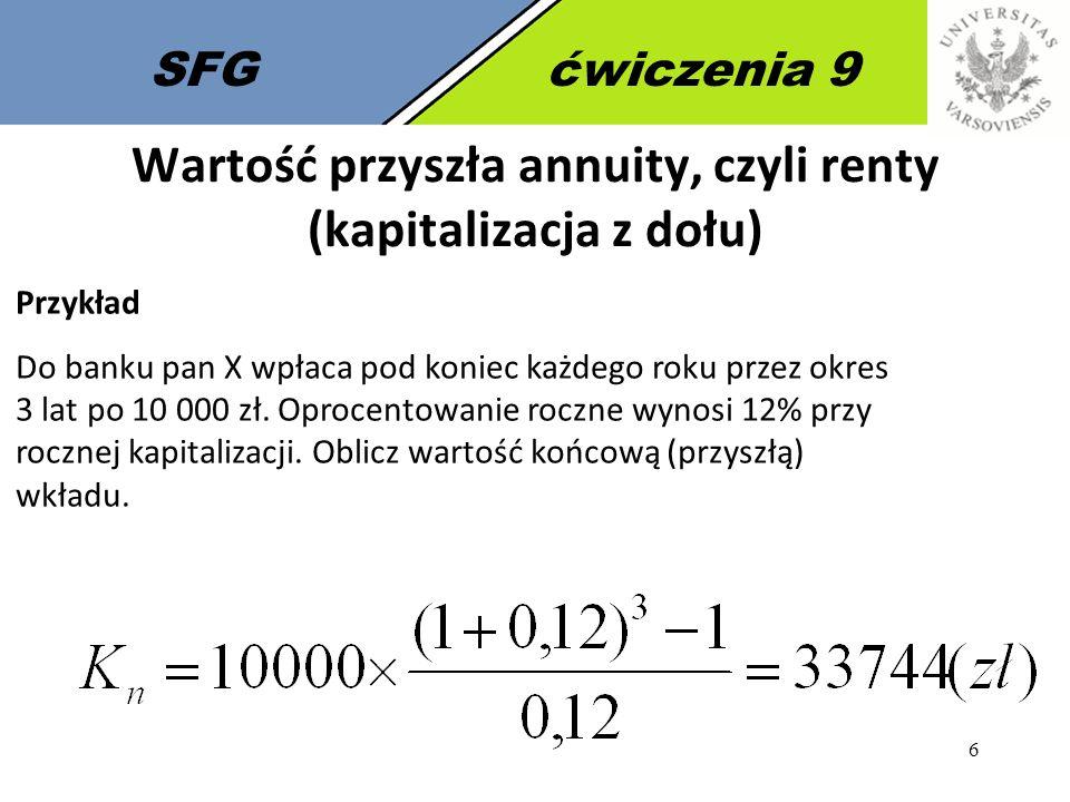 Wartość przyszła annuity, czyli renty (kapitalizacja z dołu)