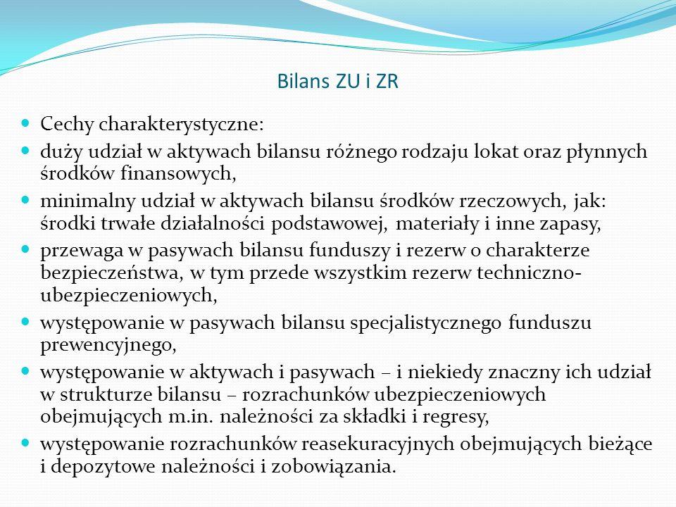 Bilans ZU i ZR Cechy charakterystyczne: