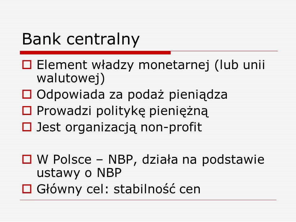 Bank centralny Element władzy monetarnej (lub unii walutowej)