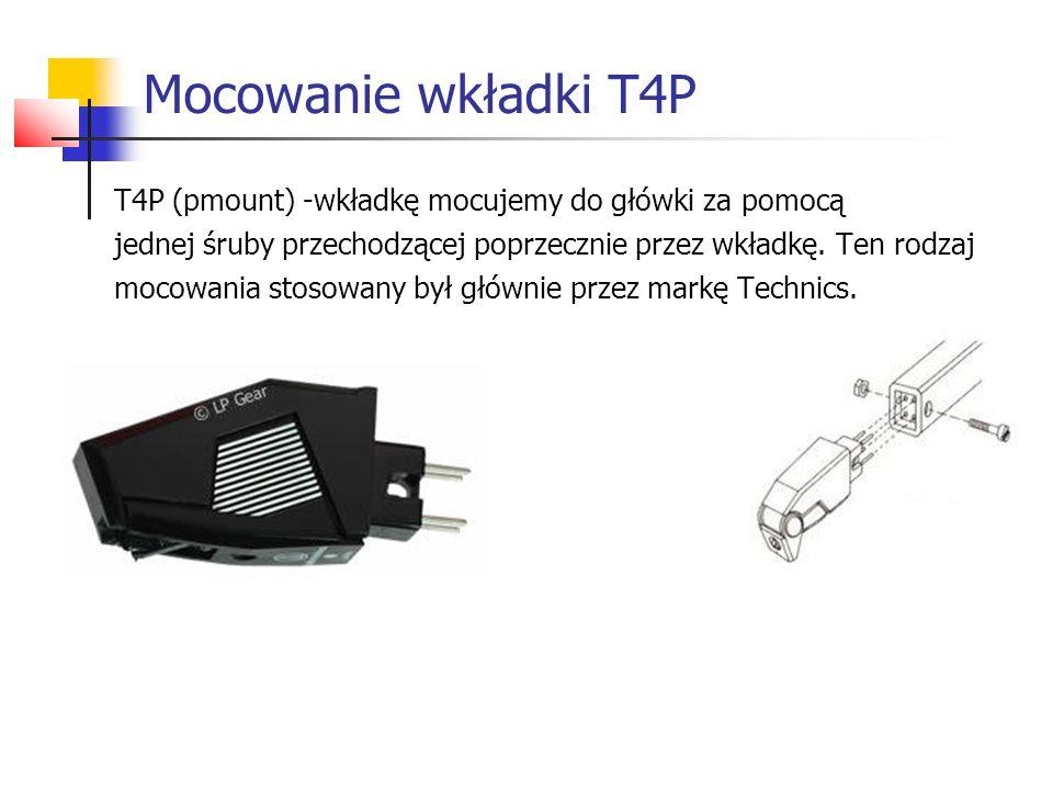 Mocowanie wkładki T4P T4P (pmount) -wkładkę mocujemy do główki za pomocą. jednej śruby przechodzącej poprzecznie przez wkładkę. Ten rodzaj.