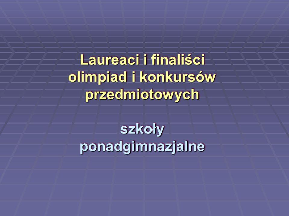 Laureaci i finaliści olimpiad i konkursów przedmiotowych szkoły ponadgimnazjalne
