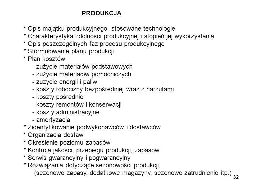 PRODUKCJA * Opis majątku produkcyjnego, stosowane technologie. * Charakterystyka zdolności produkcyjnej i stopień jej wykorzystania.