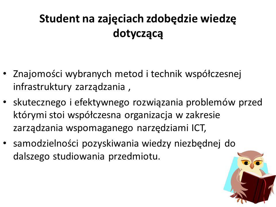 Student na zajęciach zdobędzie wiedzę dotyczącą
