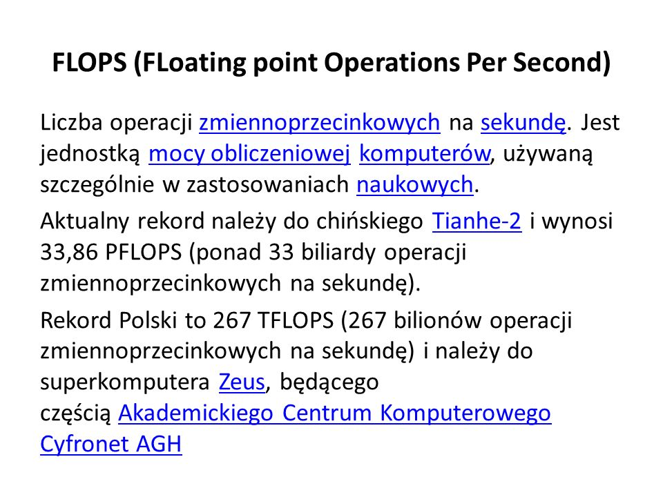 FLOPS (FLoating point Operations Per Second)