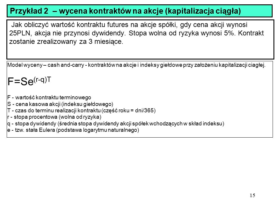 Przykład 2 – wycena kontraktów na akcje (kapitalizacja ciągła)
