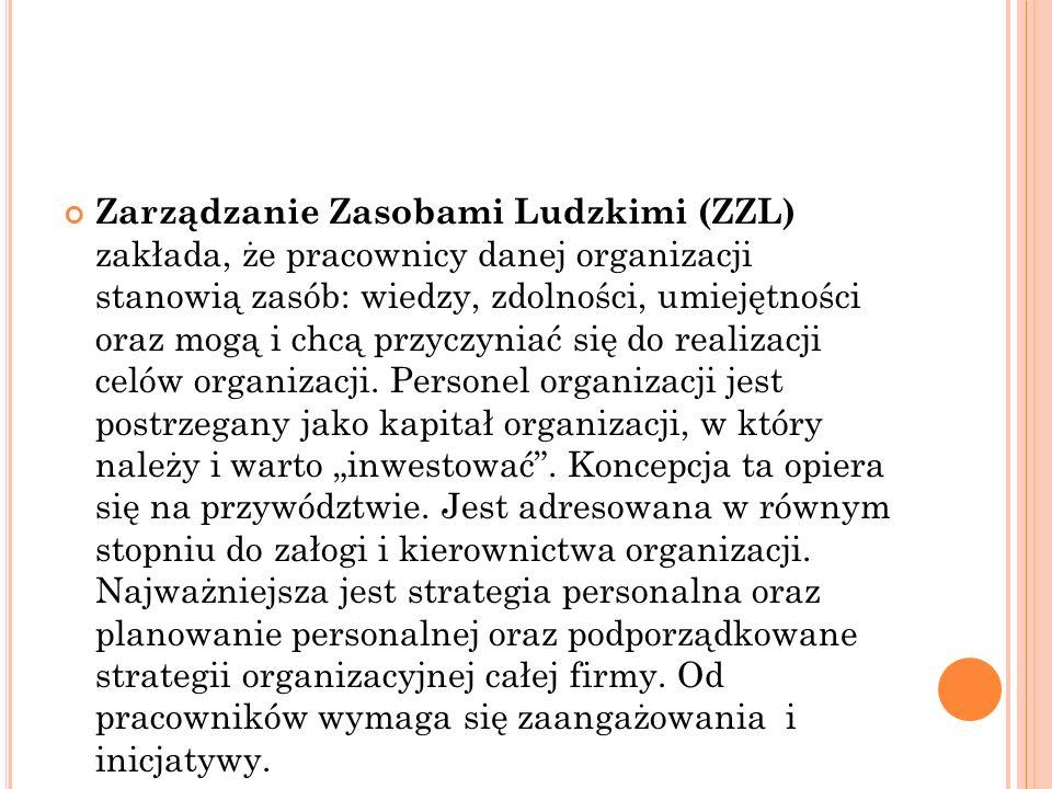 Zarządzanie Zasobami Ludzkimi (ZZL) zakłada, że pracownicy danej organizacji stanowią zasób: wiedzy, zdolności, umiejętności oraz mogą i chcą przyczyniać się do realizacji celów organizacji.