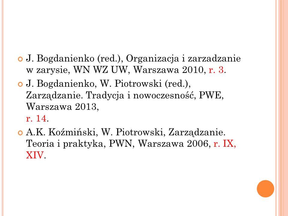J. Bogdanienko (red.), Organizacja i zarzadzanie w zarysie, WN WZ UW, Warszawa 2010, r. 3.