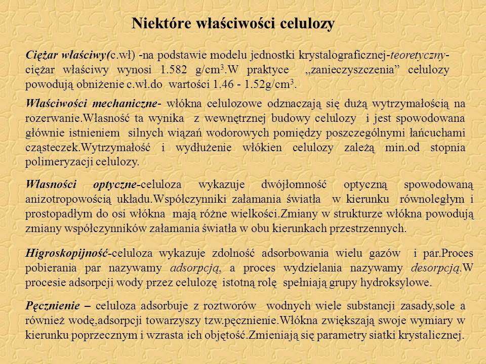 Niektóre właściwości celulozy