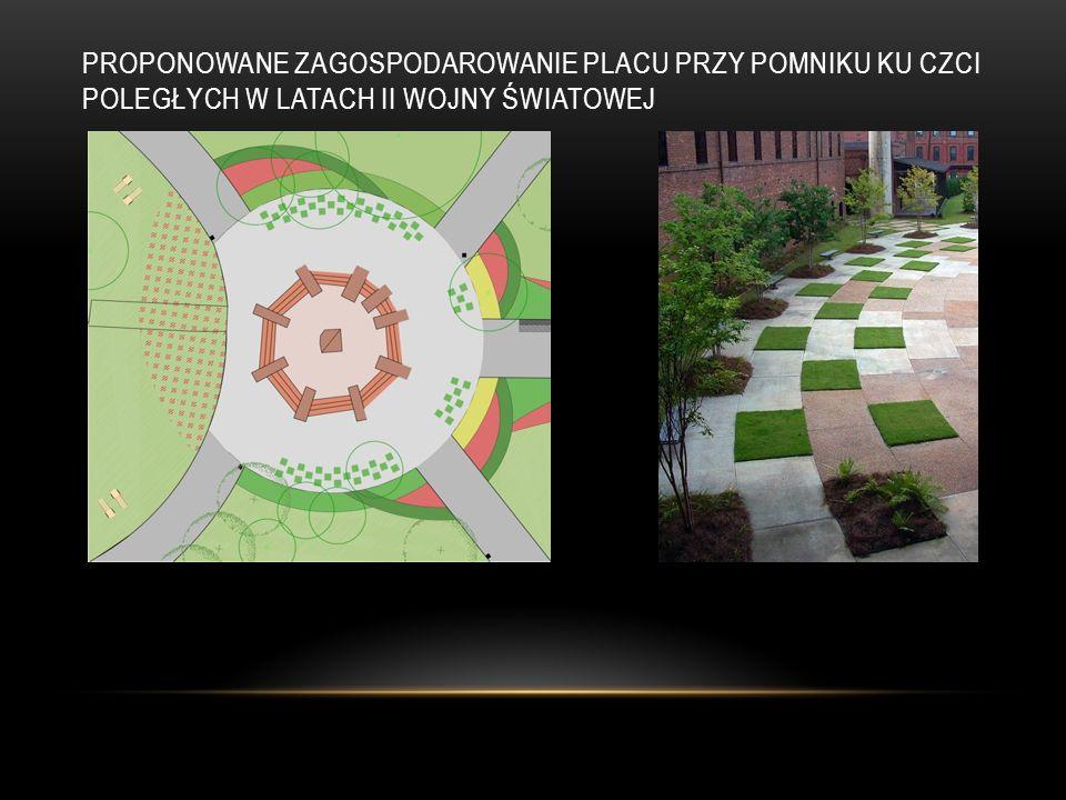 Proponowane zagospodarowanie placu przy pomniku ku czci poległych w latach II wojny światowej