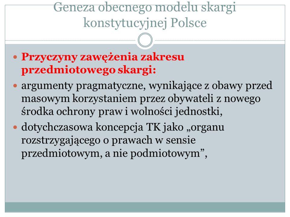 Geneza obecnego modelu skargi konstytucyjnej Polsce