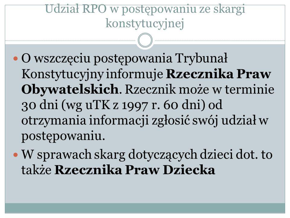 Udział RPO w postępowaniu ze skargi konstytucyjnej