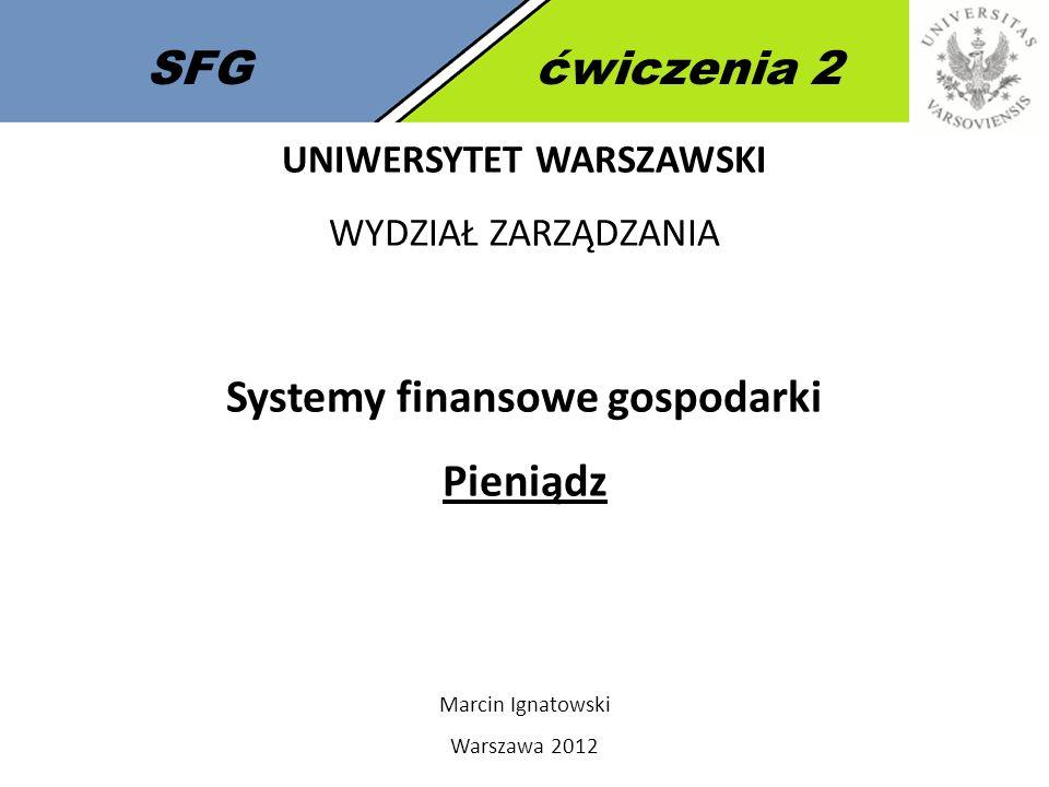 UNIWERSYTET WARSZAWSKI Systemy finansowe gospodarki