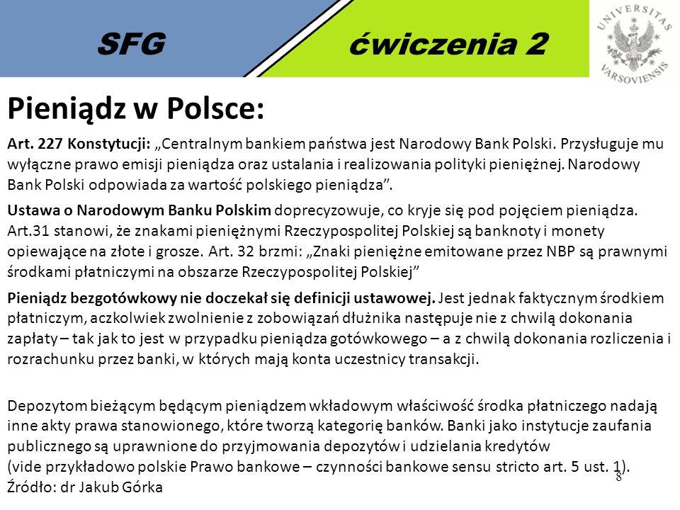 Pieniądz w Polsce: SFG ćwiczenia 2