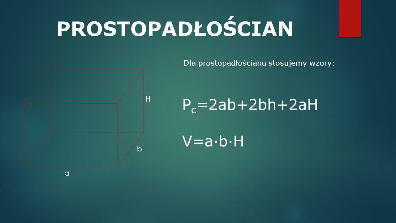 PROSTOPADŁOŚCIAN Pc=2ab+2bh+2aH V=a·b·H