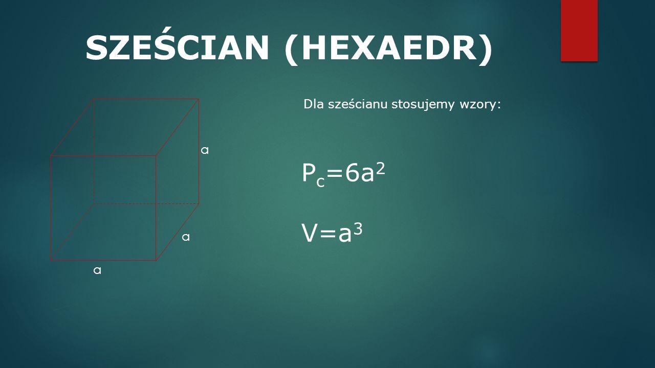 SZEŚCIAN (HEXAEDR) Dla sześcianu stosujemy wzory: a Pc=6a2 V=a3