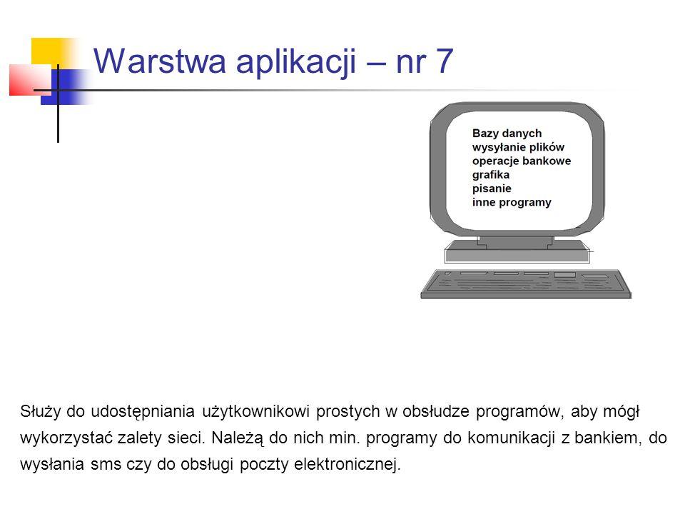 Warstwa aplikacji – nr 7 Służy do udostępniania użytkownikowi prostych w obsłudze programów, aby mógł.