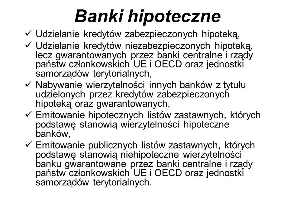 Banki hipoteczne Udzielanie kredytów zabezpieczonych hipoteką,